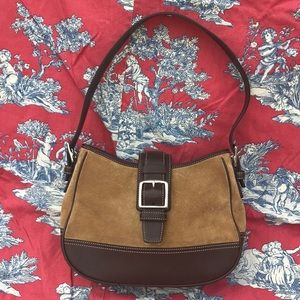 Authentic Coach Small Suede and Leather Hobo Bag